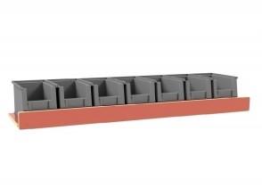 Set kunststof bakken voor Pro Wood kast type 1 legbord L=1070 mm.