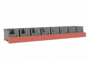 Set kunststof bakken voor Pro Wood kast type 1 legbord L=1225 mm.
